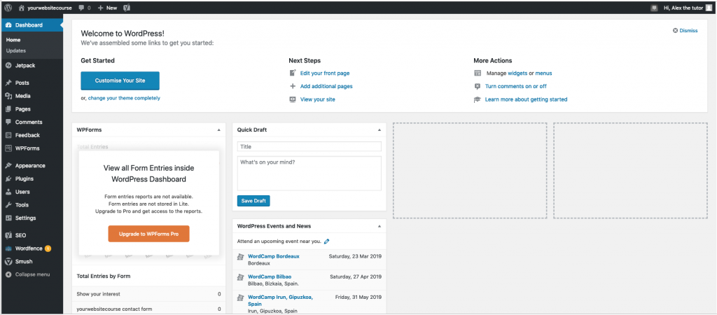 wordpress dashboard image